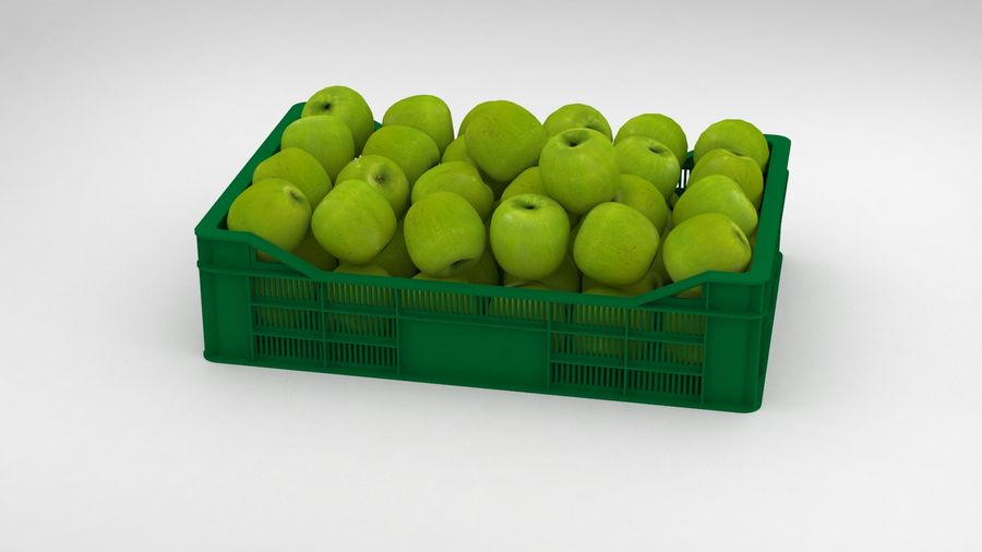 Fruit Apple Green Granny Smith Crate royalty-free 3d model - Preview no. 10