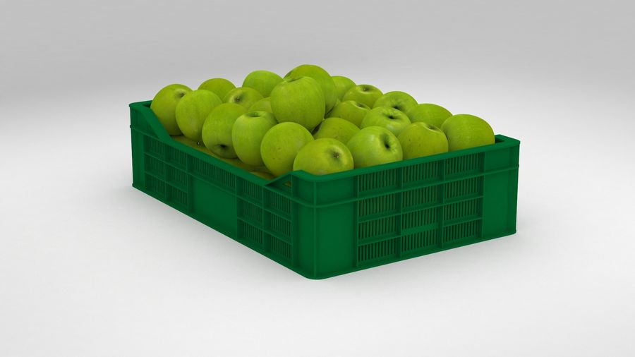 Fruit Apple Green Granny Smith Crate royalty-free 3d model - Preview no. 6