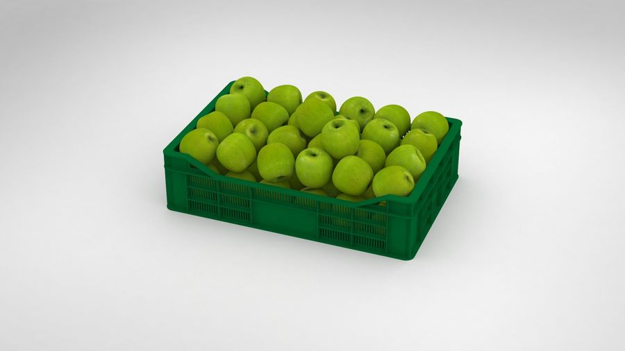 Fruit Apple Green Granny Smith Crate royalty-free 3d model - Preview no. 2