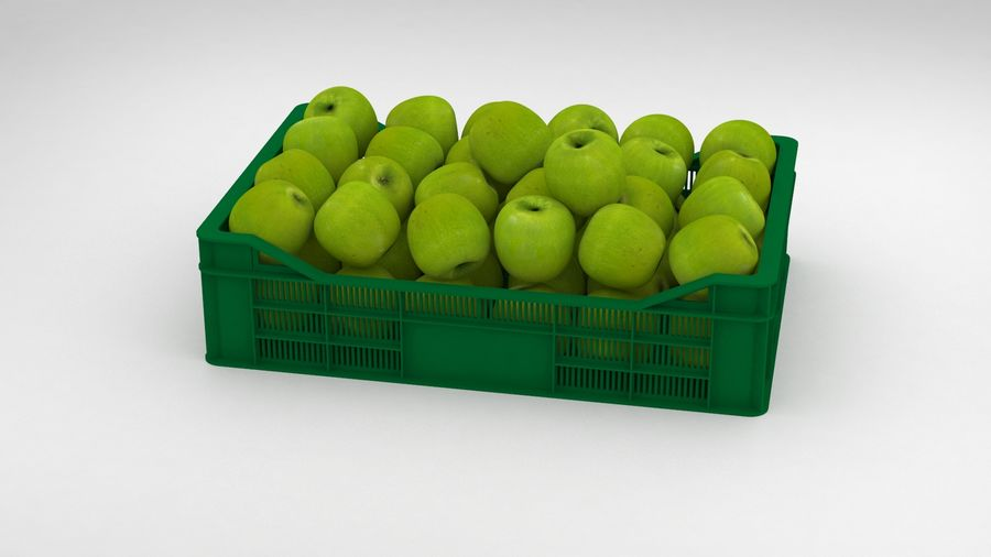 Fruit Apple Green Granny Smith Crate royalty-free 3d model - Preview no. 3