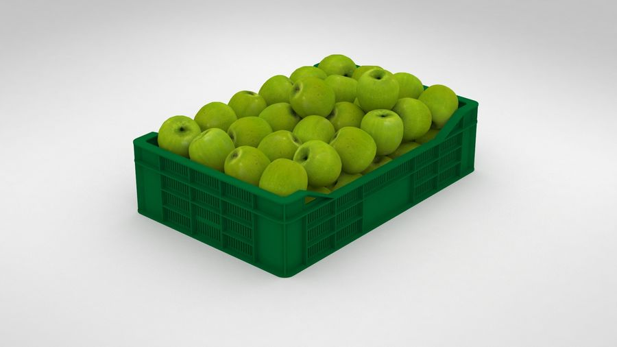 Fruit Apple Green Granny Smith Crate royalty-free 3d model - Preview no. 11