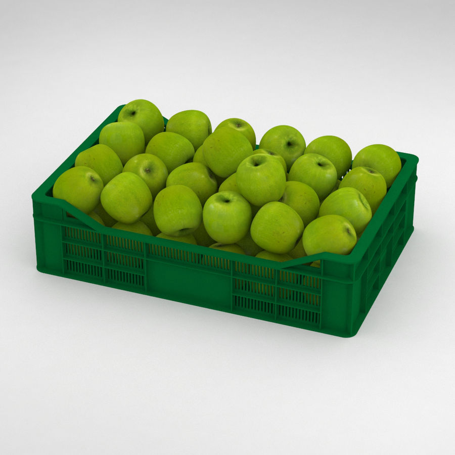 Fruit Apple Green Granny Smith Crate royalty-free 3d model - Preview no. 1