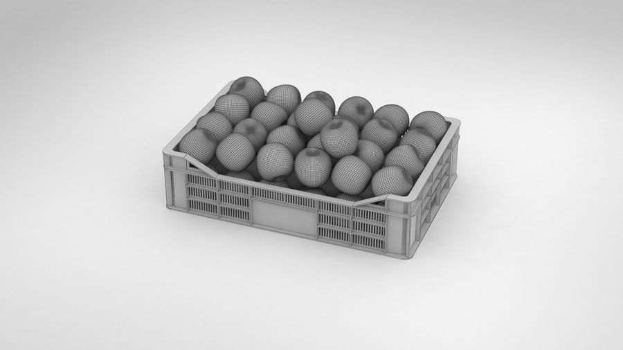 Fruit Apple Green Granny Smith Crate royalty-free 3d model - Preview no. 8