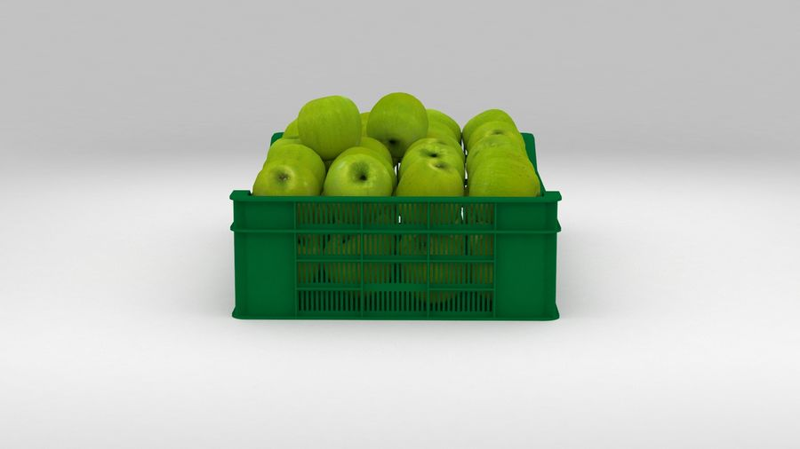 Fruit Apple Green Granny Smith Crate royalty-free 3d model - Preview no. 14