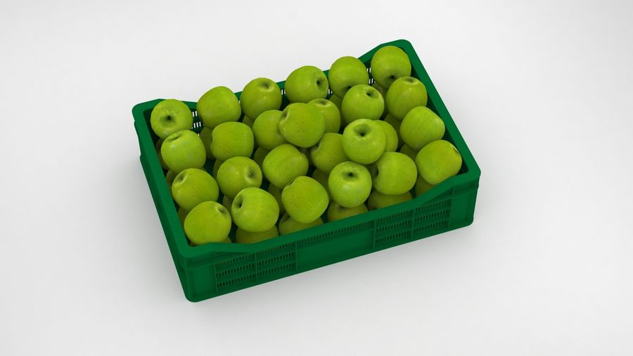 Fruit Apple Green Granny Smith Crate royalty-free 3d model - Preview no. 12