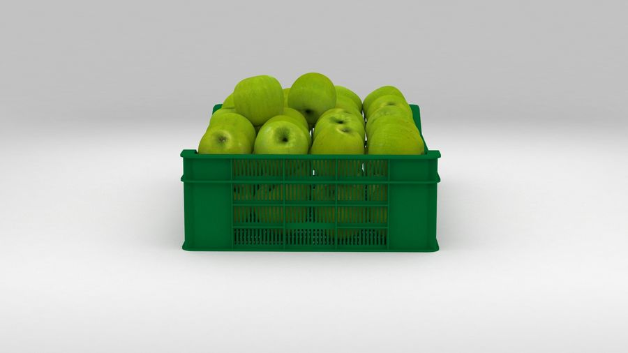 Fruit Apple Green Granny Smith Crate royalty-free 3d model - Preview no. 7