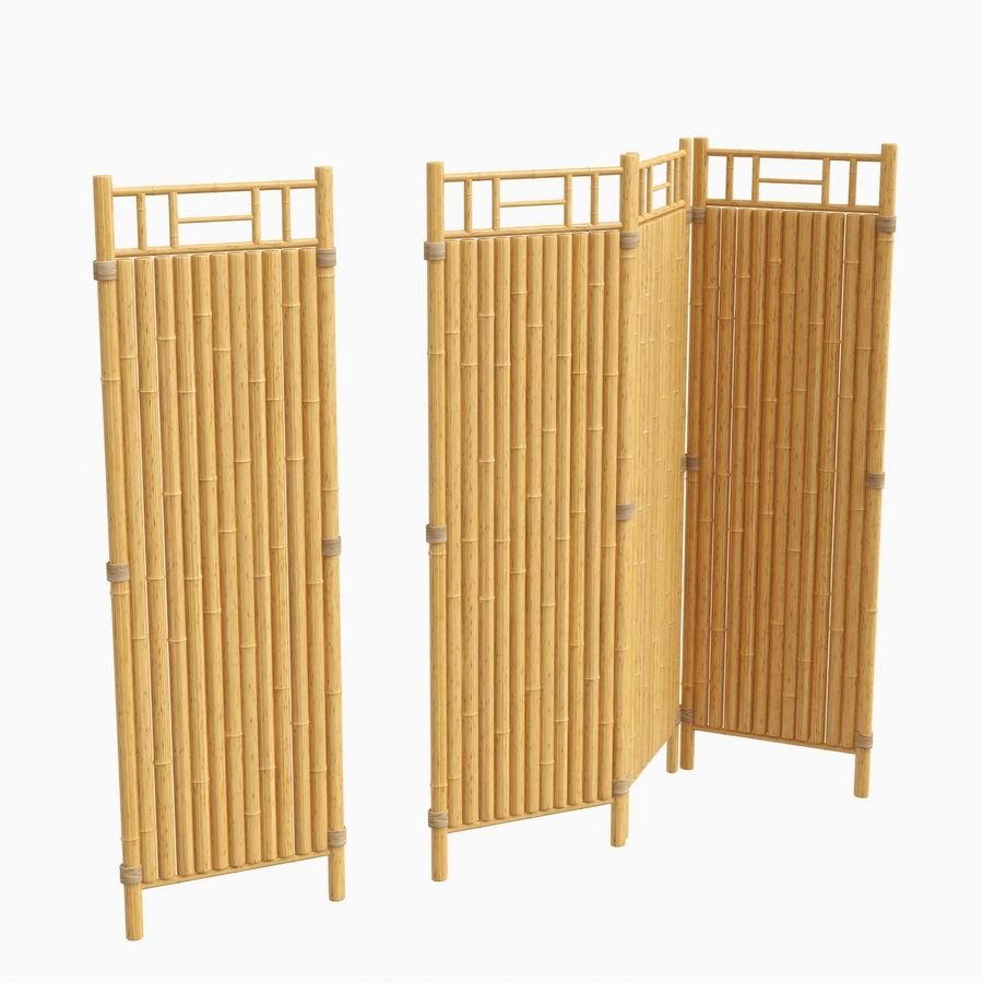 cercas de bambu secional royalty-free 3d model - Preview no. 2