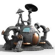 cartoon fantastic iron house 3d model
