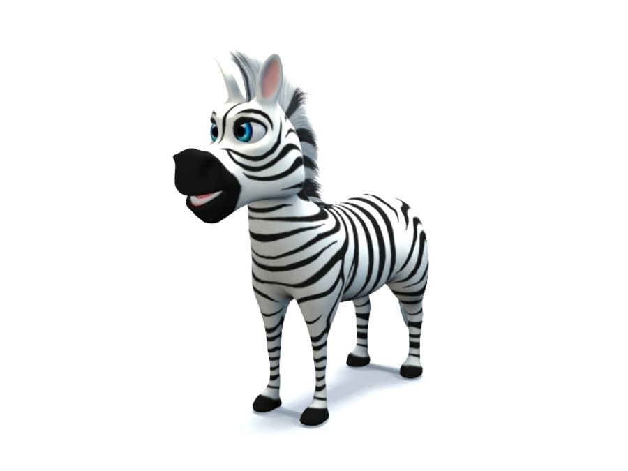 cartoon zebra royalty-free 3d model - Preview no. 2