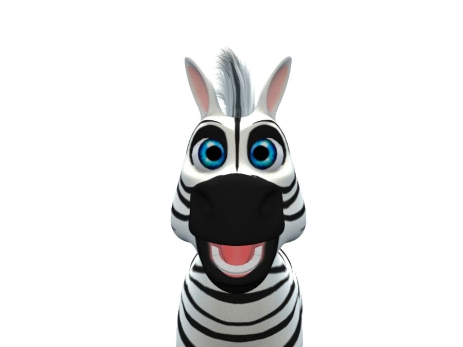 cartoon zebra royalty-free 3d model - Preview no. 4