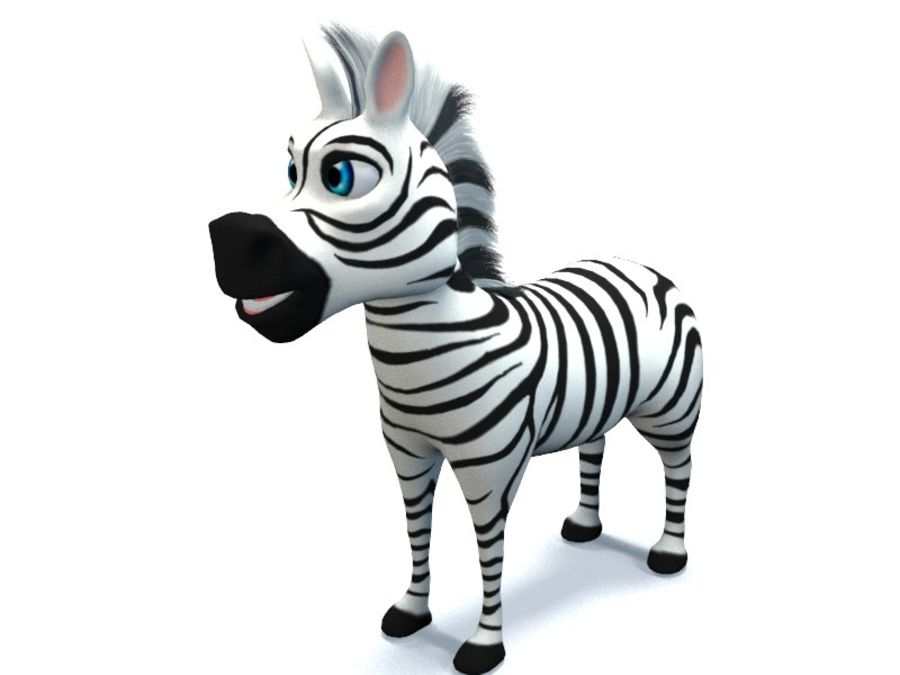 cartoon zebra royalty-free 3d model - Preview no. 3