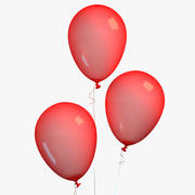 Roter Ballon Mit Farbband 3d model