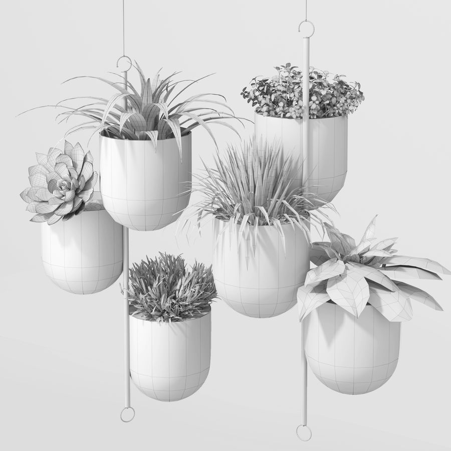 House plant indoor plant hanging metal pots royalty-free 3d model - Preview no. 2