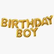 Golden Foil Balloons Words Birthday Boy 3d model