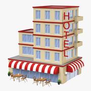 Cartoon Hotel Low Poly 3D Model 3d model