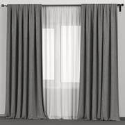 Gray curtains with white tulle 3d model