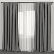 Grijze gordijnen met witte tule 3d model