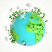 Niedriger Polyerdbaumsatz der Karikatur 3d model