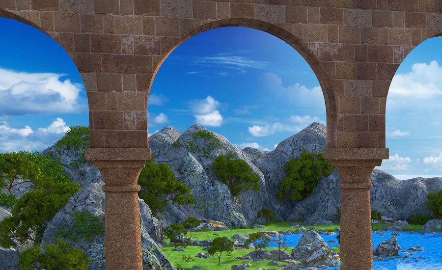 Environnement de paysage classique royalty-free 3d model - Preview no. 5