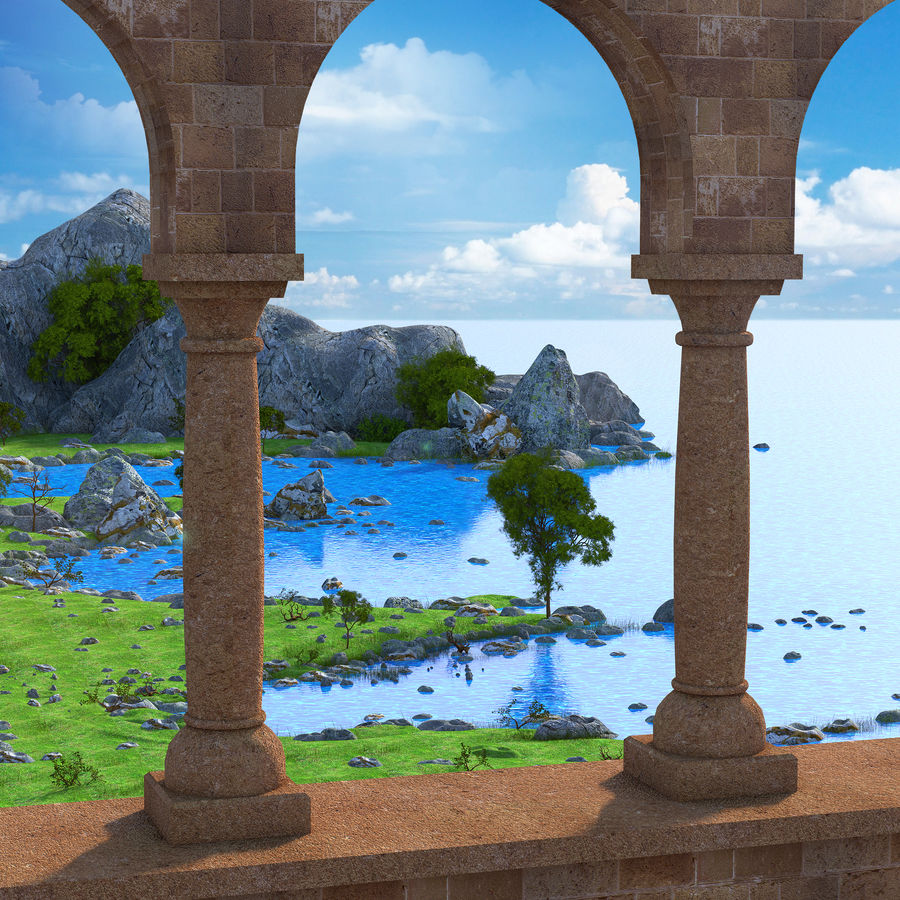 Environnement de paysage classique royalty-free 3d model - Preview no. 9