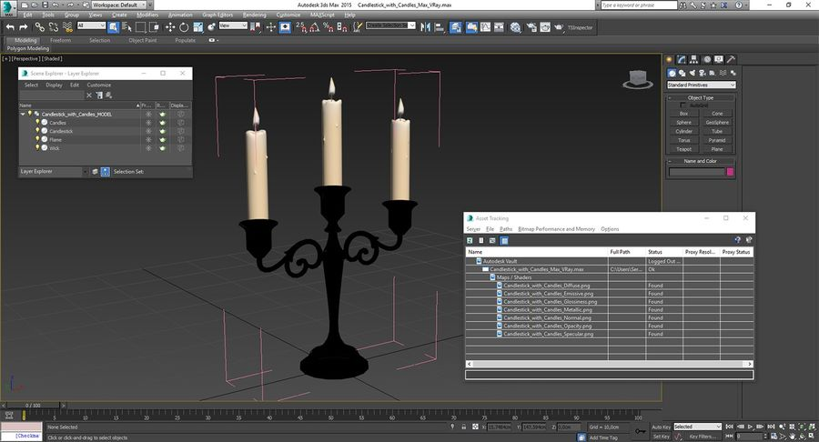 Candlestick with Candles royalty-free 3d model - Preview no. 17