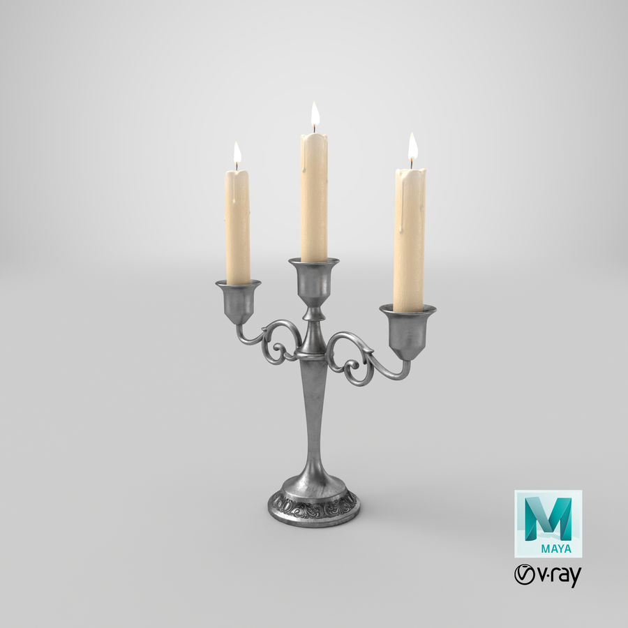 Candlestick with Candles royalty-free 3d model - Preview no. 18