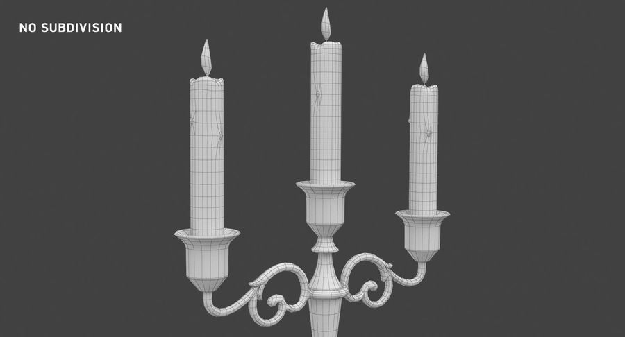 Candlestick with Candles royalty-free 3d model - Preview no. 14