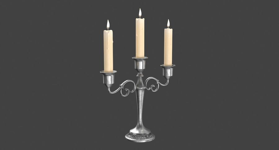 Candlestick with Candles royalty-free 3d model - Preview no. 8