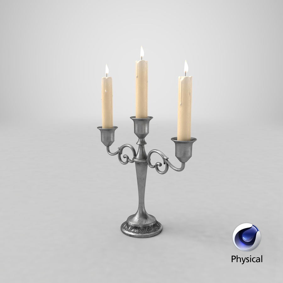 Candlestick with Candles royalty-free 3d model - Preview no. 24