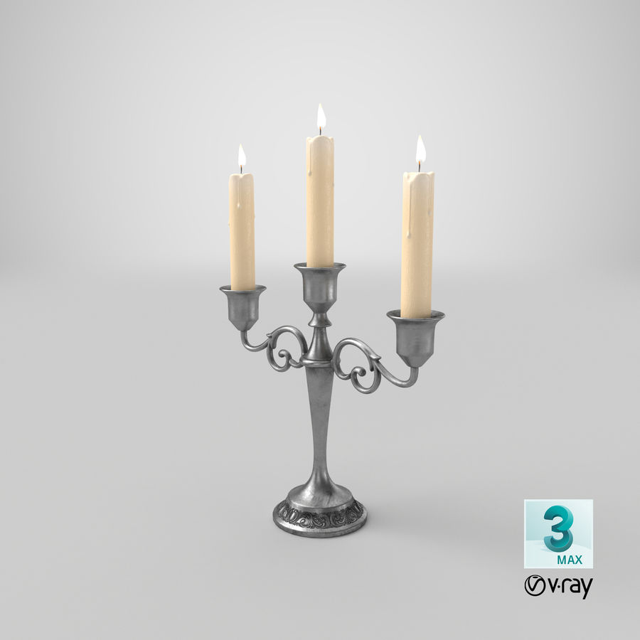 Candlestick with Candles royalty-free 3d model - Preview no. 20