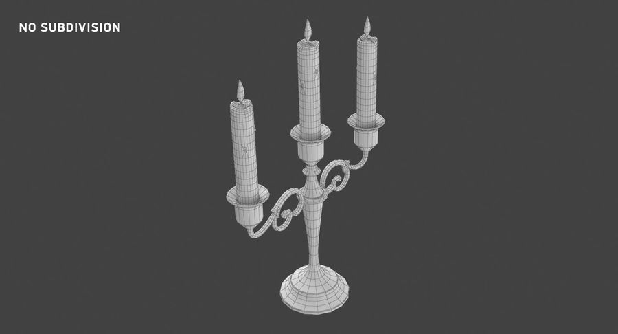 Candlestick with Candles royalty-free 3d model - Preview no. 11