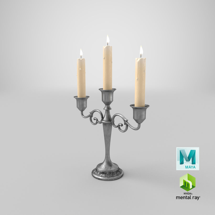 Candlestick with Candles royalty-free 3d model - Preview no. 19