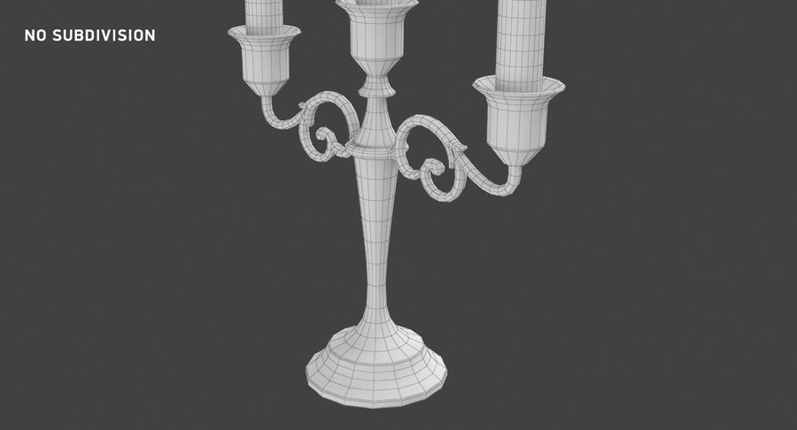 Candlestick with Candles royalty-free 3d model - Preview no. 15