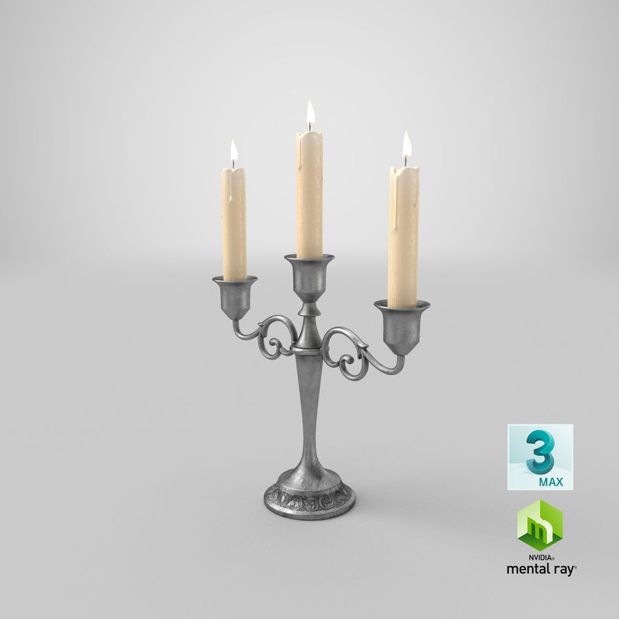 Candlestick with Candles royalty-free 3d model - Preview no. 21
