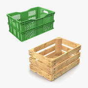 Obstkisten aus Holz und Kunststoff 3D Models Collection 3d model