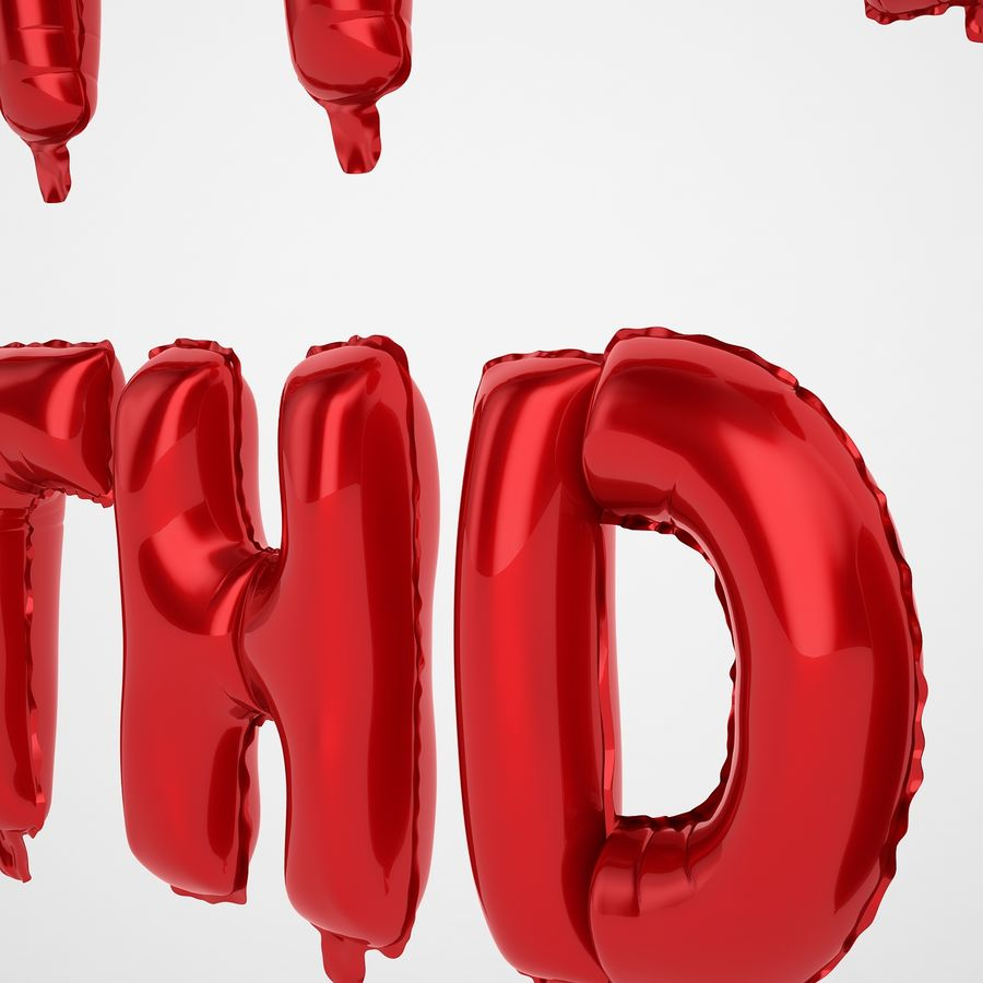 Foil Balloon Red Words Happy Birthday royalty-free 3d model - Preview no. 25