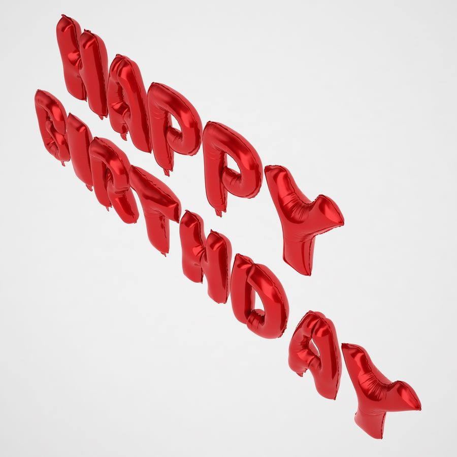 Foil Balloon Red Words Happy Birthday royalty-free 3d model - Preview no. 9
