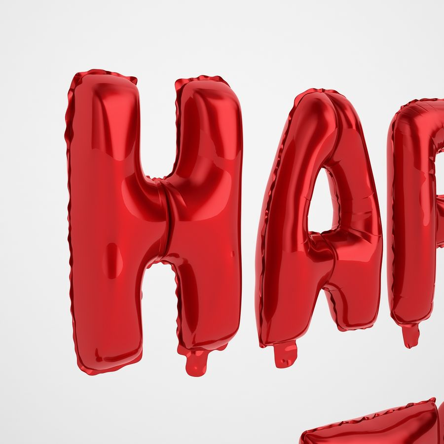 Foil Balloon Red Words Happy Birthday royalty-free 3d model - Preview no. 29