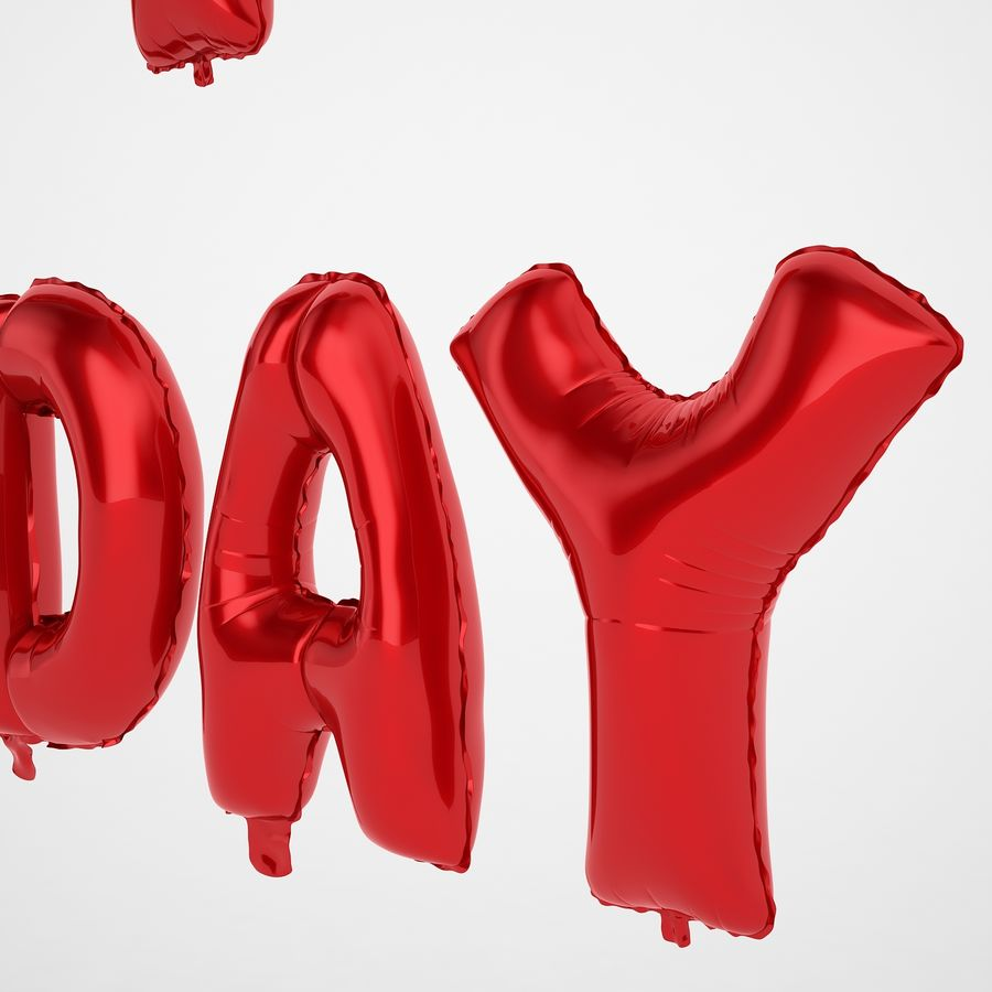 Foil Balloon Red Words Happy Birthday royalty-free 3d model - Preview no. 21