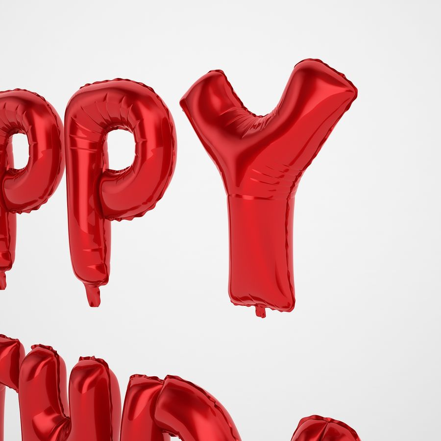 Foil Balloon Red Words Happy Birthday royalty-free 3d model - Preview no. 23