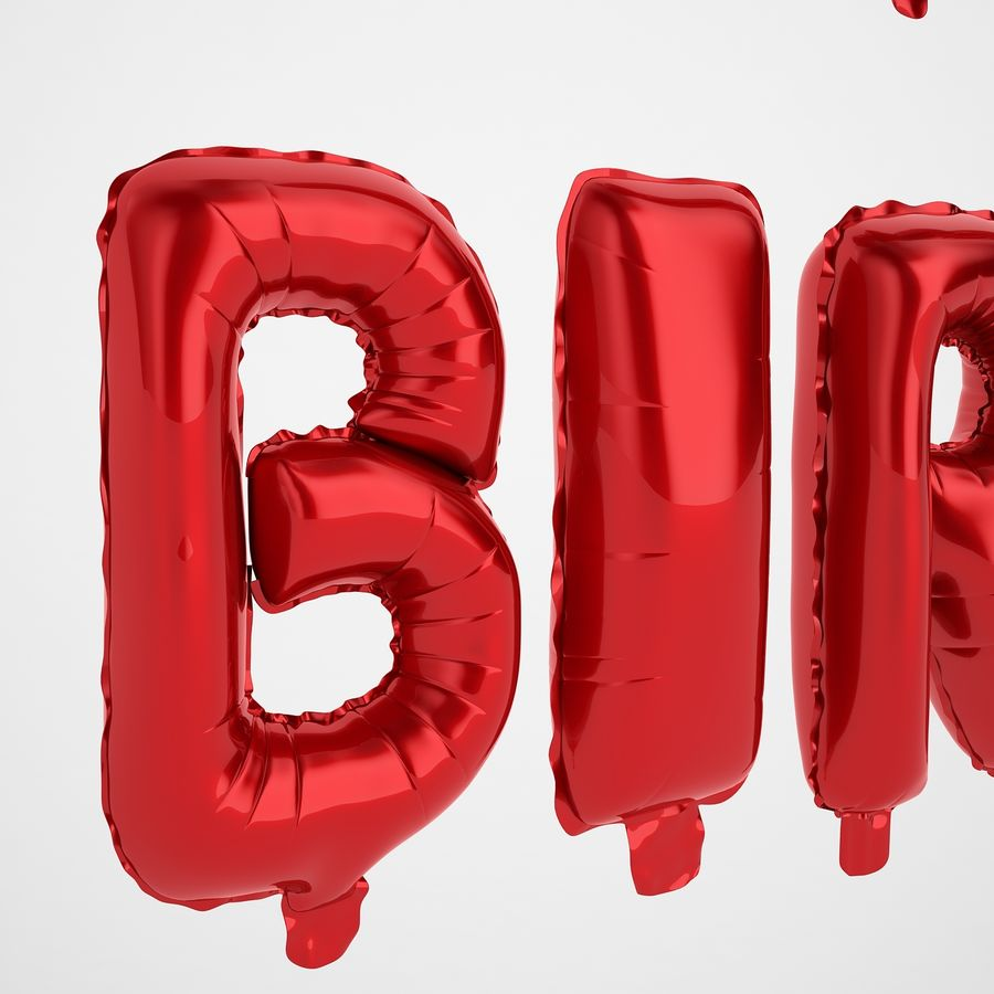 Foil Balloon Red Words Happy Birthday royalty-free 3d model - Preview no. 33