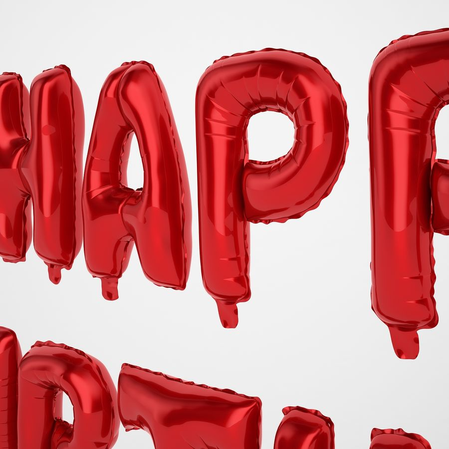 Foil Balloon Red Words Happy Birthday royalty-free 3d model - Preview no. 27