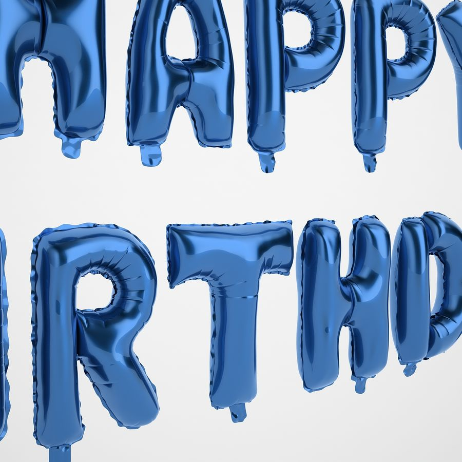 Foil Balloon Blue Words Happy Birthday royalty-free 3d model - Preview no. 19