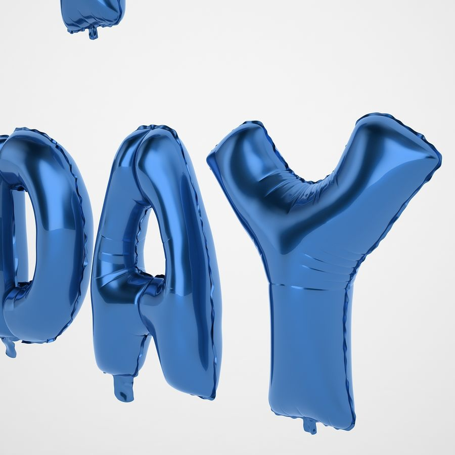 Foil Balloon Blue Words Happy Birthday royalty-free 3d model - Preview no. 21