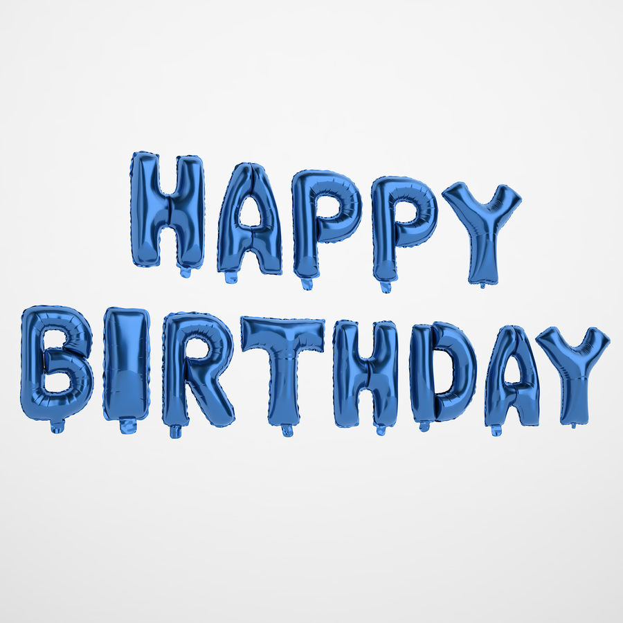 Foil Balloon Blue Words Happy Birthday royalty-free 3d model - Preview no. 2