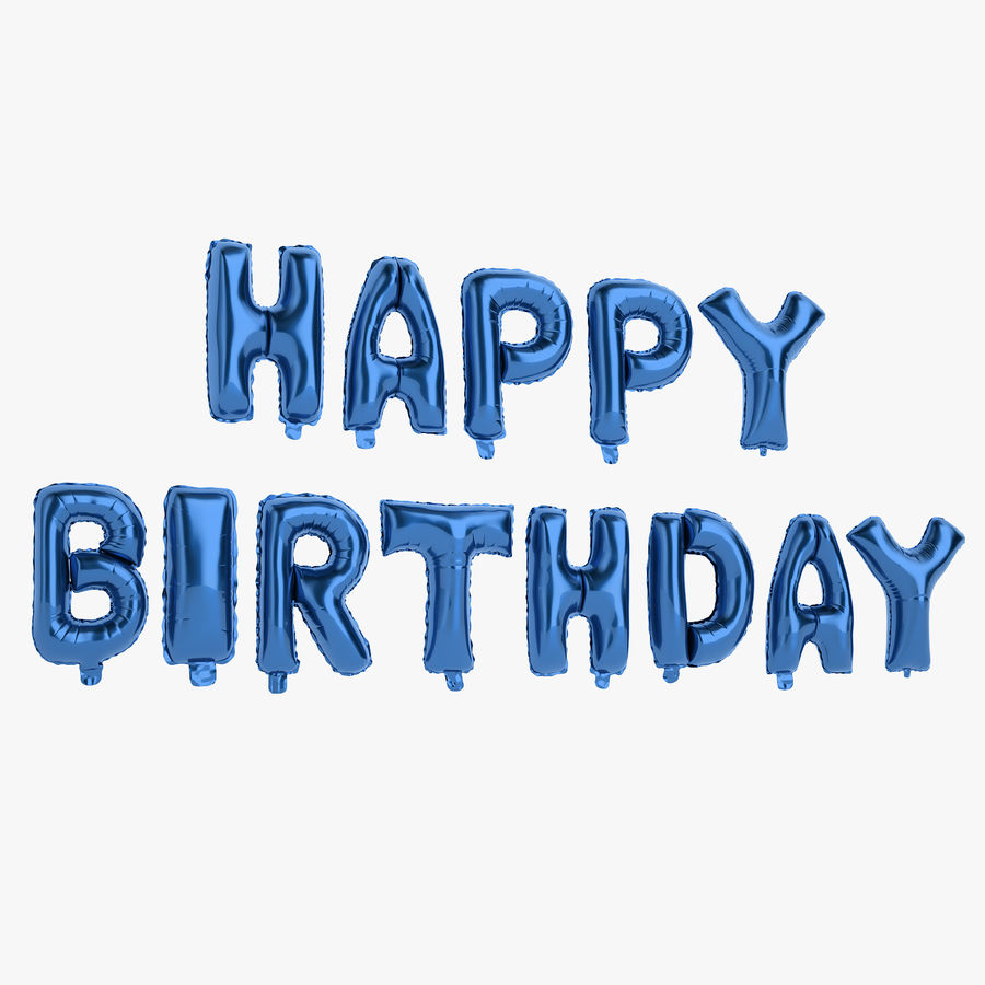 Foil Balloon Blue Words Happy Birthday royalty-free 3d model - Preview no. 1