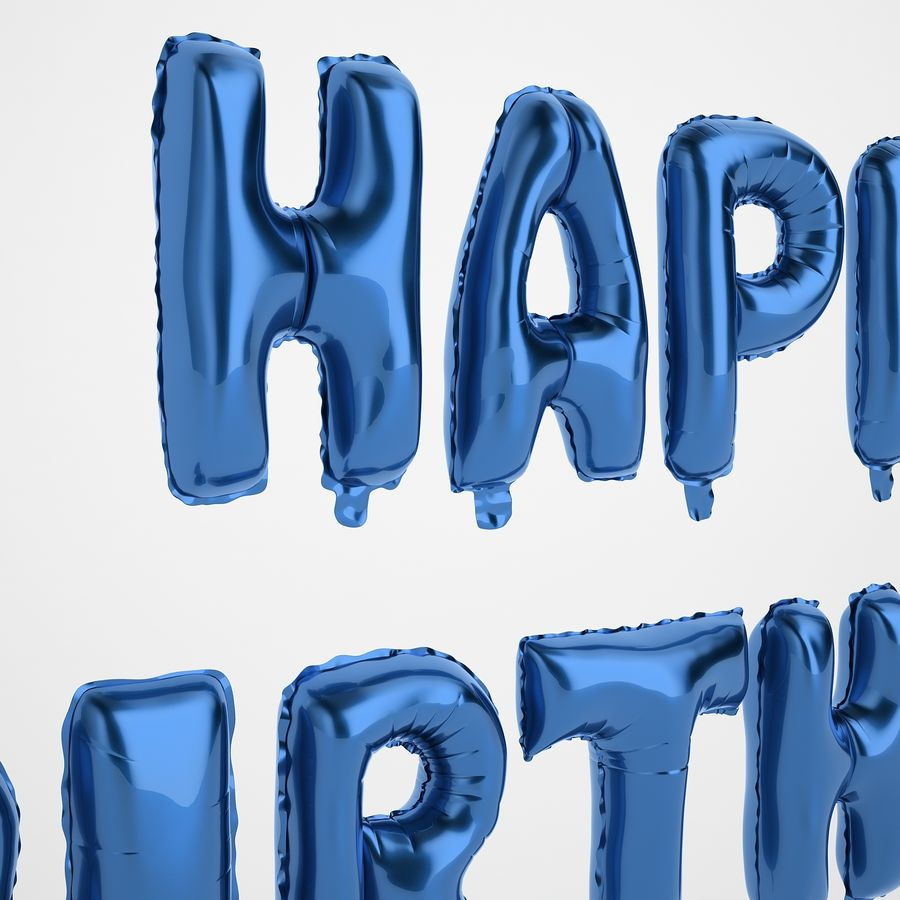 Foil Balloon Blue Words Happy Birthday royalty-free 3d model - Preview no. 17