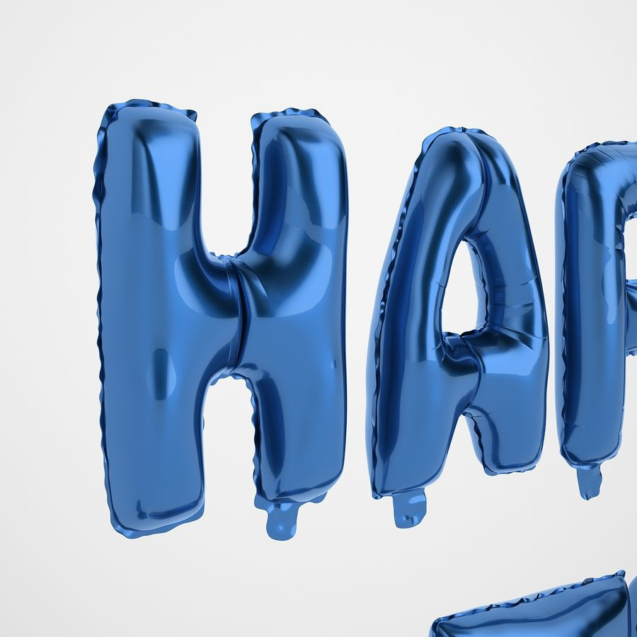 Foil Balloon Blue Words Happy Birthday royalty-free 3d model - Preview no. 29
