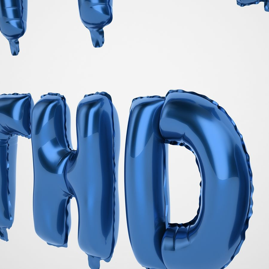 Foil Balloon Blue Words Happy Birthday royalty-free 3d model - Preview no. 25