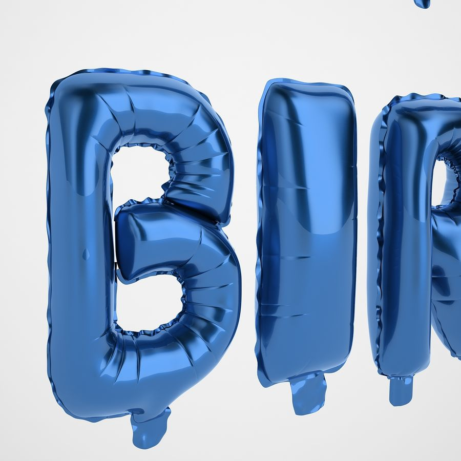 Foil Balloon Blue Words Happy Birthday royalty-free 3d model - Preview no. 33
